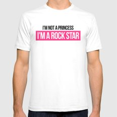 Not Princess, Rock Star Music Quote SMALL White Mens Fitted Tee