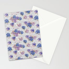 Hydrangeas and French Script with birds on gray background Stationery Cards