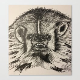 Badger Bad Original b/w ink Canvas Print