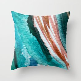 Here's to the Dreamers: a minimal, watercolor abstract piece in pinks, green, blue, and white Throw Pillow