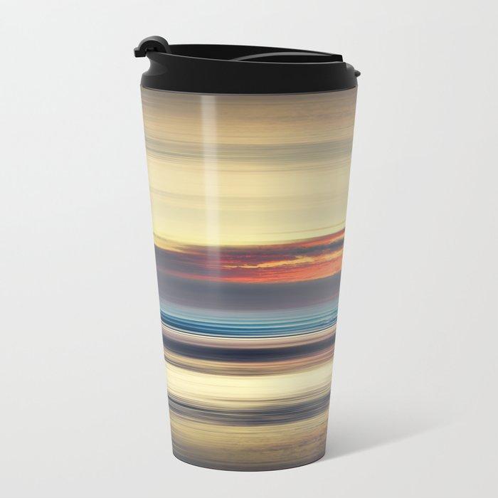 Along Memory Lines - Abstract Seascape Metal Travel Mug