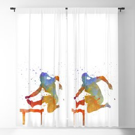 Female Athlete Jumping Over A Hurdles 01 Blackout Curtain
