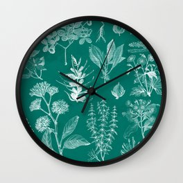 Bright Turquoise Floral Wall Clock