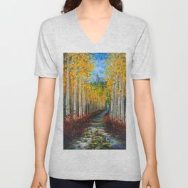 Nelly Creek painting of Uncompahgre National Forest Unisex V-Neck
