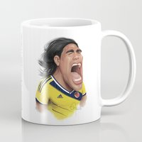 colombia Mugs featuring Falcao - Colombia by Sant Toscanni