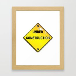 Yellow Under Construction Sign Framed Art Print