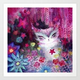 Gala Cat Tending the Garden Art Print