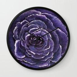 Purple Rose Close Wall Clock