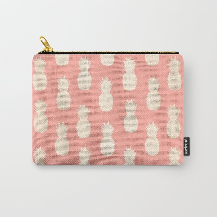 Gold Pineapples on Coral Pink Carry-All Pouch