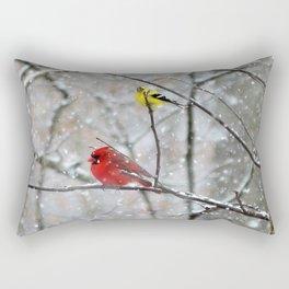 Goldfinch and Cardinal Rectangular Pillow