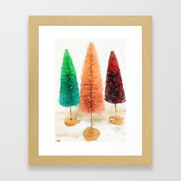 Vintage Bottlebrush Pastel Trees Framed Art Print