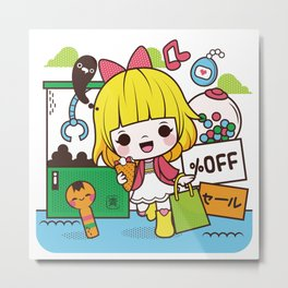 Kokeshi Girl Metal Print