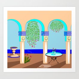 A Mediterranean Garden with Fountain Art Print
