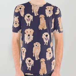 Golden Retrievers on Navy All Over Graphic Tee