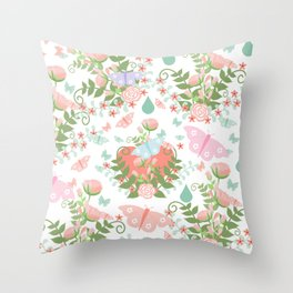 Abstract coral pink green butterfly floral illustration Throw Pillow