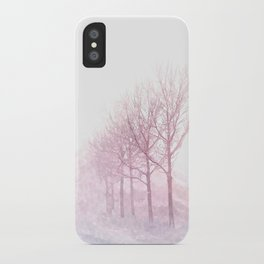 Pink winter trees iPhone Case
