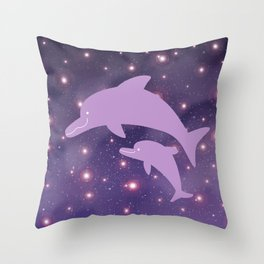 Parent-child of dolphin in Universe _03 Throw Pillow