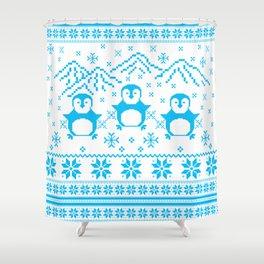 Cute Blue Scandinavian Penguin Holiday Design Shower Curtain