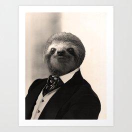 Gentleman Sloth #4 Art Print