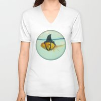 anna V-neck T-shirts featuring Brilliant DISGUISE by Vin Zzep