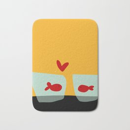 Fishes in love Bath Mat
