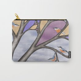 red breasted nuthatches in the stained glass tree Carry-All Pouch