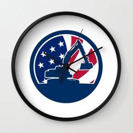 American Excavator USA Flag Icon Wall Clock