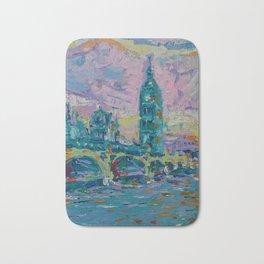 London Bridge - palette knife abstract city landscape with Big Ben Bath Mat