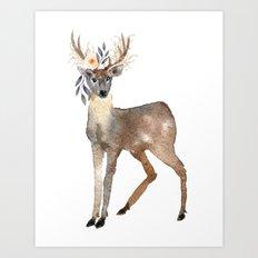 Boho Chic Deer With Flower Crown Art Print