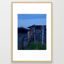 Down by the Harbour 1: Sheds in the Reeds Framed Art Print