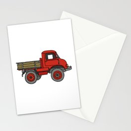 Red truck / transporter Stationery Cards