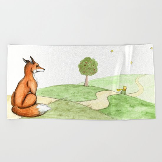 The little Prince and the Fox Beach Towel