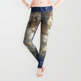 Abstract brown sky blue glitter galaxy nebula pattern Leggings