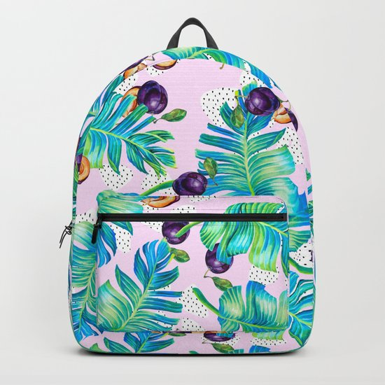 Pattern Plum & leaf Backpack