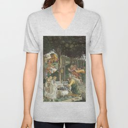 Trials of Moses Painting by Botticelli - Sistine Chapel Unisex V-Neck