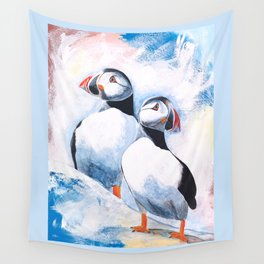 Puffins - I watch over you, little brother - by LiliFlore Wall Tapestry