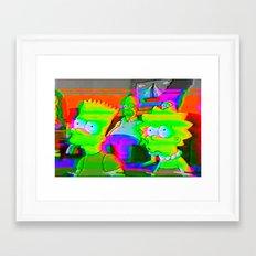 simpsons acid glitch Framed Art Print