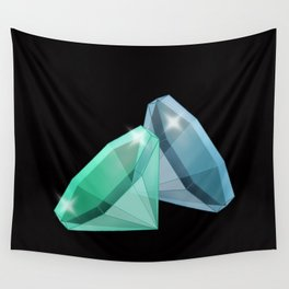 Precious blue and green stones . Wall Tapestry