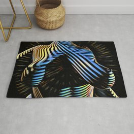 5617-KMA Powerful Nurturing Woman Offers Life in Blue Gold Stripe Abstract Rug