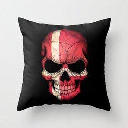 Dark Skull with Flag of Denmark Throw Pillow