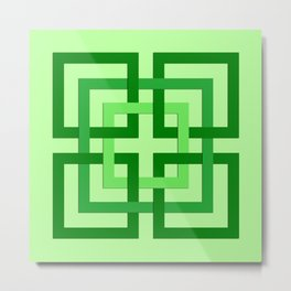 Modern Geometric Squares, Mint Green and Emerald Metal Print