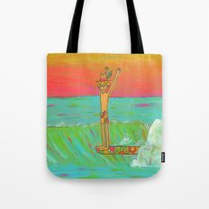 Hang 10 Retro Surf Dude Longboard Surf Tote Bag