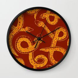 Red & Gold Snakes Wall Clock