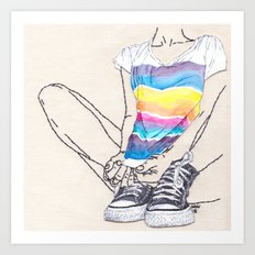 Roarie and Her Chucks Art Print