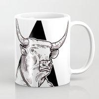 bull Mugs featuring Bull by Hopler Art