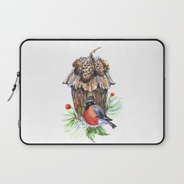 Bullfinch in the background of a cozy bird house. Laptop Sleeve