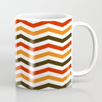 thanksgiving Mugs featuring Thanksgiving Chevron by Designs By Misty Blue (Misty Lemons)