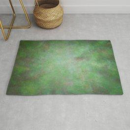 Abstract Watercolor Blend 3 Deep Dark Green and Light Green Rug