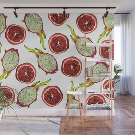 Pomegranate - Dragon Fruit Pattern White Wall Mural