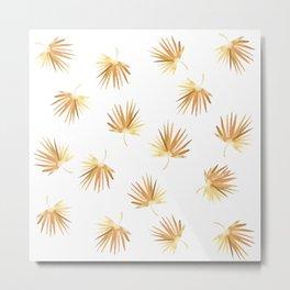 Golden Boho Palm Leaf Watercolor Metal Print